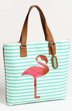 Betsey Johnson flamingo tote: vacation ready. Let's go somewhere with palm trees, white sand, and blue water!