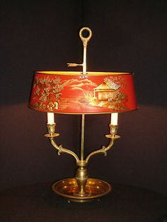 Chinoiserie - Antique Large French 2 Lite Brass Bronze Bouillotte Lamp {Red Chinoiserie Scene}