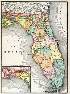 This image is a map of Florida with labels of different counties and rail lines throughout the state and was used from 1880-1899. The amount of people living in Florida at the time was just under 300,000. The economic agenda was very heavily based on agricultural output: oranges and cattle. The peripheral theme of the frontier boundaries shrinking/lost to mechanization and development. Map Credit: Courtesy the private collection of Roy Winkelman