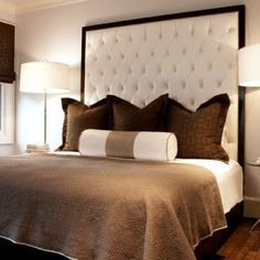 Tufted headboards Bed designs, headboards, footstools, armchairs, window treatments, ceilings, pendant light fixtures, flooring, rugs, nightstands and decorating. modern. color. texture. walls.