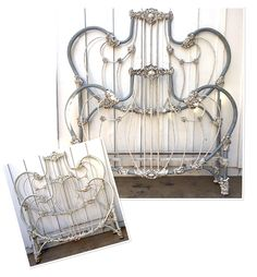 The fashion and attraction that iron beds have are incomparable. They appear attractive in any room Victorian Headboards, Victorian Bed Frames, Vintage Bed Frame, Vintage Beds, Wrought Iron Bed Frames, Old Bed Frames, Beach Bedroom Decor, Cozy Bedroom, Dream Bedroom