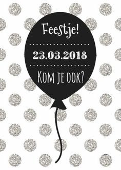 Uitnodigingskaartje met een zwarte ballon met tekst en glitter stippen, verkrijgbaar bij #kaartje2go voor €0,99