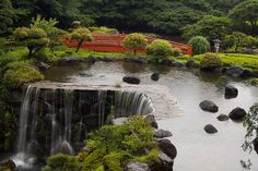 Japanese garden at the New Otani hotel in Tokyo.