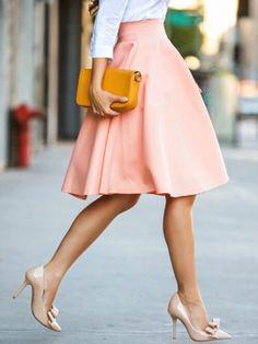 Shop Peach Pink High Waist Midi Skater Skirt from choies.com .Free shipping Worldwide.$9.9