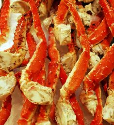 King Crab Legs on Ice. Fresh King Crab legs on ice for sale at market , Crab Recipes, Savoury Recipes, Healthy Recipes, King Crab Legs, New Years Eve Dinner, Easy Halloween Food, Seafood Dinner, Healthy Food Choices, Southern Recipes