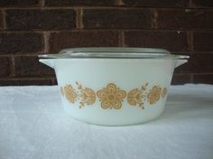 Vintage Pyrex Gold Butterfly Casserole Dish with Lid  by DamenArt