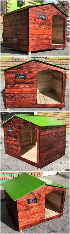 This is the best wooden pallet project for the settlement of your lovely pet in your house. The beautiful construction of this dog house and the further decoration with dark brown hues and the green color painted roof is the main attraction in the whole concept. #doghouse #palletdoghouse #pallet #pallets #woodpallets #palletfurniture #palletprojects #palletideas #recycle #recycledpallet #reclaimed #repurposed #reused #restore #upcycle #diy #palletart