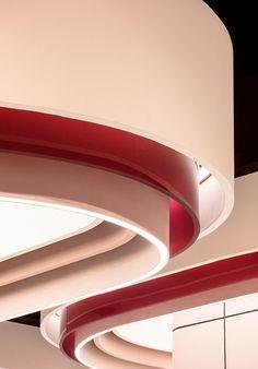 seoul, Korea Interior Ceiling Design, Shop Interior Design, Retail Design, Store Design, Sconce Lighting, Lighting Design, Ceiling Canopy, Ceiling Lights, Painting Ceiling Fans