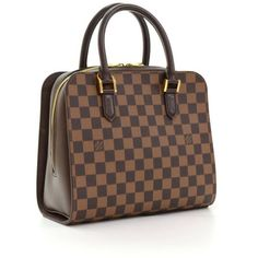 Louis Vuitton Triana Ebene Damier Canvas Handbag ❤ liked on Polyvore featuring…