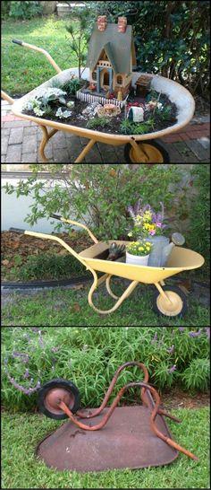 DIY Fairy Garden From An Old Wheelbarrow.