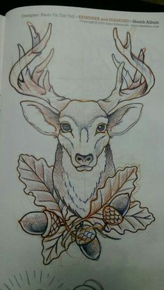 Stag tattoo - would like a lil more realism Deer Head Tattoo, Stag Head, Head Tattoos, Time Tattoos, Traditional Tattoo Deer, Neo Traditional, Tattoo Sketches, Tattoo Drawings, Cervo Tattoo
