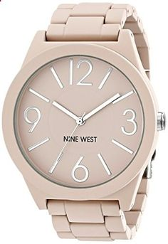Nine West Women's NW/1679PKPK Matte Pink Rubberized Bracelet Watch. Go to the website to read more description.