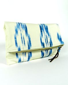 Baby Blue White Ikat Tribal Print Clutch