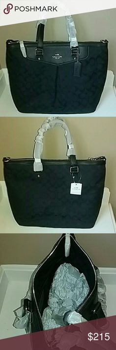 """PLEAT TOTE IN SIGNATURE BY COACH ☆☆PRICE DROP + ☆30% OFF BUNDLE ITEMS OF 2 OR MORE ENDS SUNDAY AT MIDNIGHT!☆  ☆☆FREE GIFT WITH PURCHASE! ☆☆  BRAND NEW PLEAT TOTE IN SIGNATURE BY COACH!   14 1/2""""(L) X 10 3/4"""" (H) X 6 1/2"""" (W)  ☆☆BUNDLE & SAVE MORE!☆☆ Coach Bags Totes"""