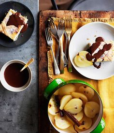 Ricotta, almond and chocolate tarts with poached pears recipe :: Gourmet Traveller