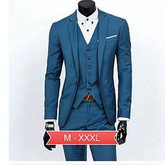 Men's Plus Size Black/Gray/Blue Korean  Style Slim Business Suit(Blazer & Pants) – USD $ 57.74