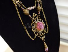 Real Rose Victorian Resin Necklace Flower Resin by LaTaniaJewelry