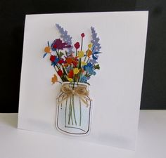 ~ they smell divine! by sistersandie – Cards and Paper Crafts at Splitcoa… ~ they smell divine! Mason Jar Cards, Mason Jars, Cool Birthday Cards, Happy Birthday, Flowers In Jars, Tim Flowers, Paper Embroidery, Die Cut Cards, Cute Cards