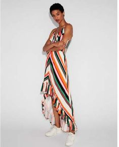 eb75094f Shop for Express striped smocked waist ruffle maxi dress at ShopStyle.com  #casualdressessize18