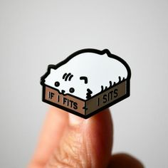 If I Fits I Sits White Cat Enamel Pin - Gift for Crazy Cat Ladies If I fits I sits!This is a hard enamel pin of cute loaf shaped cat inside a box one size too small.Perfect gift for the crazy cat lady in your life.Dimensions: x Cat Lover Gifts, Cat Gifts, Grillz, Crazy Cat Lady, Jacket Pins, Cat Pin, Hard Enamel Pin, Pin Enamel, Cool Pins