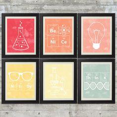 Girls Science Art    set of 6 8x10 Instant by PrintsAndPrintables