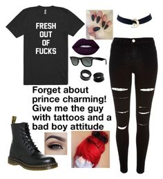 """""""I don't care about you or your favorite boy band."""" by jayceepanda on Polyvore featuring River Island, NOVICA, Ray-Ban, Dr. Martens and Lime Crime"""