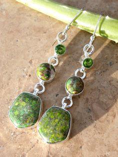 Peridot Earrings / Serpentine / Sterling Silver Earrings by AleaMariCo
