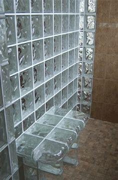 glass block shower bench - wow.
