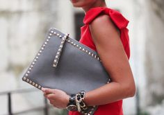 Transporting important documents in studs and style.