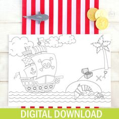 Pirate Colouring In Placemat - DIGITAL DOWNLOAD - Printable - Wedding Favour - Party Favours - Wedding Activity - Birthday Party - For Kids