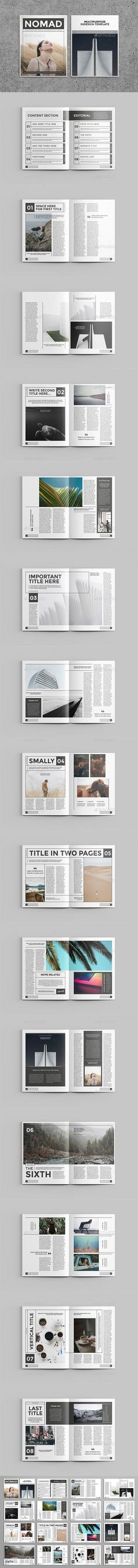Nomad Magazine Template — InDesign INDD #minimal #digital • Available here ➝ https://graphicriver.net/item/nomad-magazine-template/20598779?ref=pxcr
