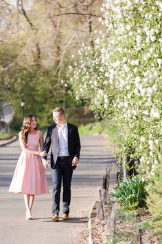 Walking through Central Park New York City Engagement Photo by Jessica Haley