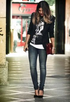 1. B&W long white strappy top + graphic black t shirt + black and white blazer + skinny jeans + High heel peep toe shoes + fucsia envelope