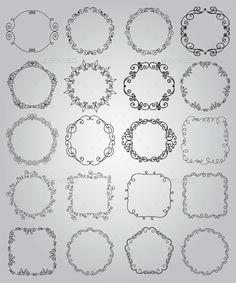 Dibujado mano del Doodle Bordes y marcos - vectores decorativos