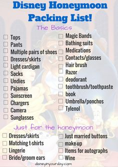 Disney Honeymoon Packing List - a free printable of what you need to pack for a romantic Disney vacation!