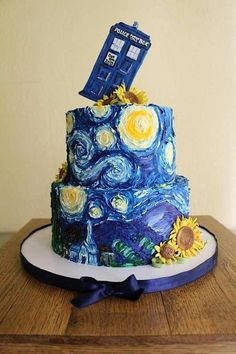 Van Gogh/Doctor Who wedding cake