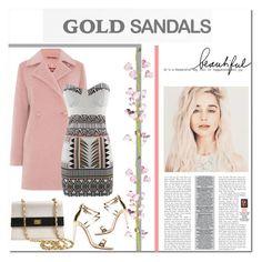 """Micro Trend: Solid Gold Sandals"" by mycherryblossom ❤ liked on Polyvore featuring moda, MaxMara, Aquazzura e Chanel"