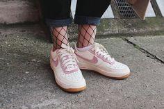 ohwyouknow: Sneaker Shot, Fishnet Thights, Nike Airforce 1 Seersucker Pack, Jeans