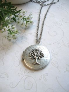Silver tree locket necklace, vintage silver locket, tree of life, keepsake