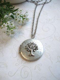 Silver tree locket necklace vintage silver locket.