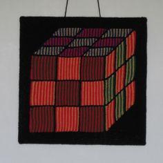 Rubik's Cube - Illusion knitting wall-hanging