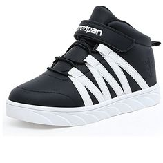 back to basics U-MAC Boys and Girls Walking Sneakers Winter Warm Mid Sports Velcro Strap Elastic Bungee Running Shoes