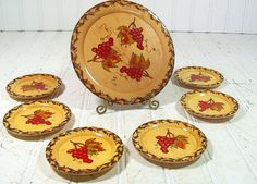 Vintage Wooden Hand Painted Trays Set of 7  Retro by DivineOrders