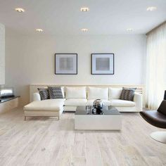 Our white oak Memory Bianco wood effect porcelain floor tiles perfectly compliment the cool tones of this contemporary lounge. Living Room Flooring, Contemporary Lounge, Flooring, Living Room Wood, Wood Effect Porcelain Tiles, Porcelain Flooring, Living Room Tiles, Home Decor, House Interior