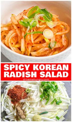 This spicy Korean radish salad (Musaengchae) is a quick easy healthy Korean side dish made with shredded daikon radish Korean pepper flakes. Ready in 15 minutes! Korean Potato Side Dish, Korean Food Side Dishes, Potato Side Dishes, Food Dishes, Spicy Dishes, Food Food, Radish Recipes, Spicy Recipes, Asian Recipes