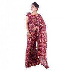 Ethnic cotton kota doria traditional floral print saree with blouse.
