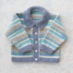 Baby Boy SWEATER / JACKET with collar 6 to 12 by grannyknits, $44.00