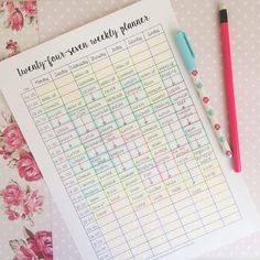 24-7 weekly planner ⏱ I love starting one of these on a Sunday and planning out the week ahead! I use different colours to differentiate my tasks. Download this for free at: http://theorganisedstudent.tumblr.com/printables #theorganisedstudent...