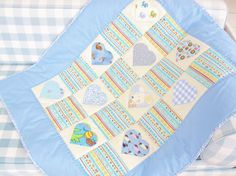 Quilt patchwork baby newborn crib bedding hearts dog dachshund mouse animal applique light blue yellow off-white nursery baby shower gift by poppyshome on Etsy