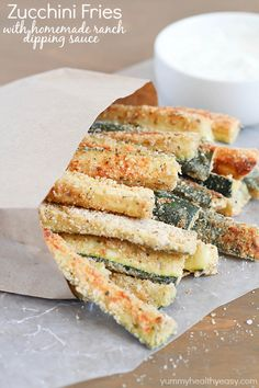 Baked Zucchini Fries with yummy ranch dipping sauce.